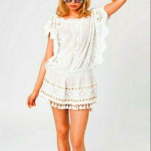 P. ROSSINI BEACH BARDOT STYLE WHITE DRESS
